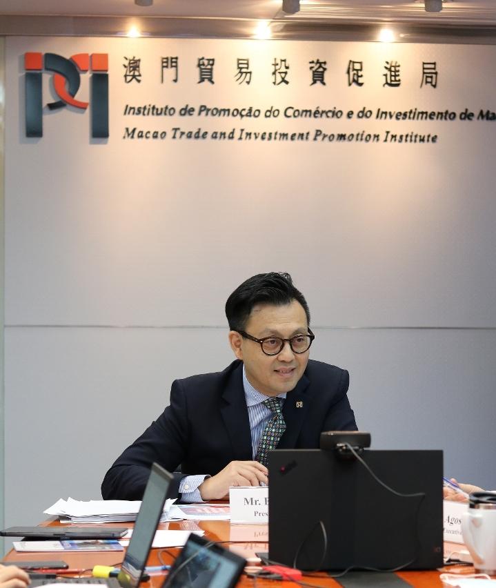 澳門貿易投資促進局主席劉偉明發表講話