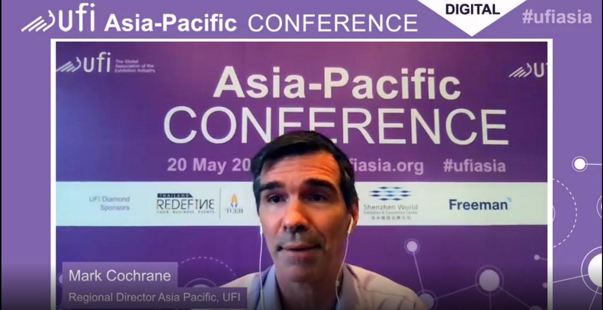 國際展覽業協會(UFI)亞太區經理Mark Cochrane主持2021年度亞太區線上會議